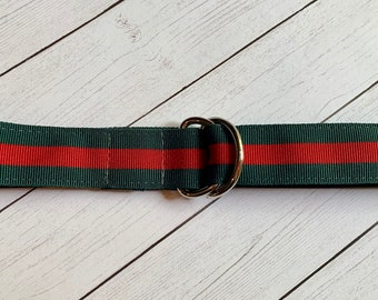 1ccc67663d820 Children's Green and Red Striped Ribbon Belt, Spring and Summer Belt,  Silver D-Rings, Toddler Belt, Tween Belt, Belt for Girls