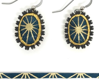 Midnight Blue Starburst Paper Rhinestone Earrings - First Anniversary - Boho Jewelry - Bridesmaid Gift - Paper Jewelry