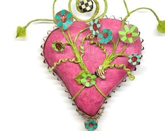 Pink Papier Mache Wall Heart - paper heart - Italian crepe paper - paper art - paper wall art