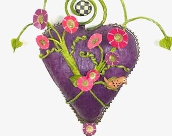 Purple Papier Mache Wall Heart - paper heart - Italian crepe paper - paper art - paper wall art - collage heart