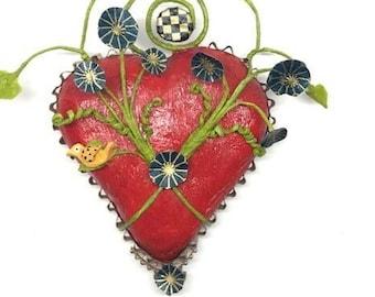 Red Papier Mache Wall Heart - paper heart - Italian crepe paper - paper art - paper wall art
