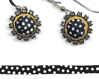 Polka Dot Paper Earrings - Paper Rhinestone Earrings - First Anniversary - Boho Jewelry - Bridesmaid Gift - Paper Jewelry