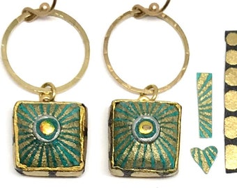 Turquoise Starburst Circle Square Earrings - First Anniversary - Boho Jewelry - Bridesmaid Gift - Paper Jewelry