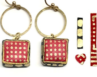 Red Checked Circle Square Paper Earrings - First Anniversary - Boho Jewelry - Bridesmaid Gift - Paper Jewelry