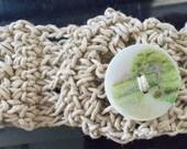 Handmade hemp macrame cuff bracelet with button enclosure