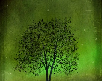 Emerald Bewitched tree art print giclee print, art, tree art,print,gift,art collectibles,wall art,wall decor,wall decor