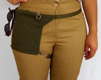 Green Thigh Bag, Mini Garter Purse, Small Biker Bag, Tiny Hip Pouch, Fanny Pack Hidden Pocket Pouch, Money Hip Holder