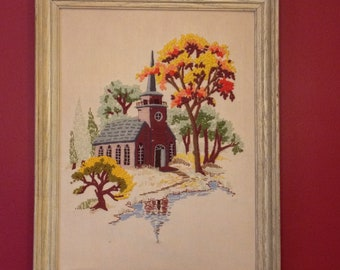 Vintage Framed Little Church By The Lake Crewel Embroidery Needlepoint Vintage Home Decor 1980s Crewel Embroidery Needlepoint