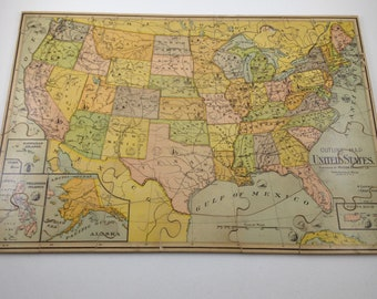 United States Map cut on state lines puzzle c. 1930s   Etsy