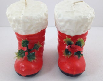 Pair of Vintage Red Santa Claus Boot Candles, Holiday Candles, Christmas Candles, Novelty Candles, Retro Christmas, Christmas Decor