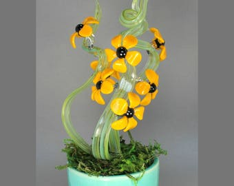 Lampwork Glass Daisy Blooms in Mossy Ceramic Vase - Handmade Art For the Home