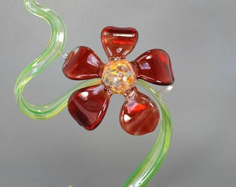 Red Art Glass Flower Sculpture - Lampwork Botanical Nature Decor - Garden Glass