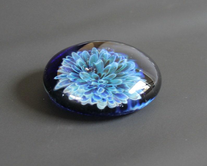 Blue Flower  Lampwork Glass Cabochon 36mm Jewelry Making Supply