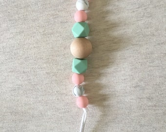 Silicone & wood beaded pacifier clip/teether clip