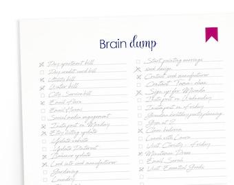 """Printable """"Brain Dump"""" Checklist Downloadable - Home Management"""