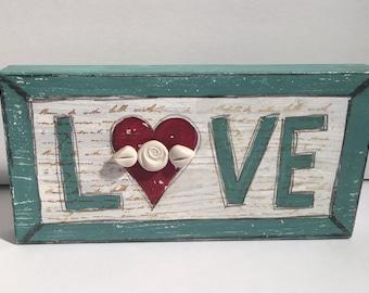 Wood sign mixed media artwork- encaustic love sign