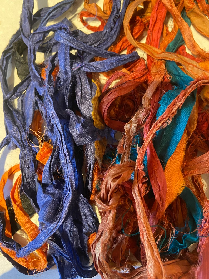 Scrap bag of sari silk 1 12 oz bag of recycled sari silk bag 5