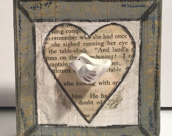 Wood mixed media art block with bird- encaustic and polymer clay artwork