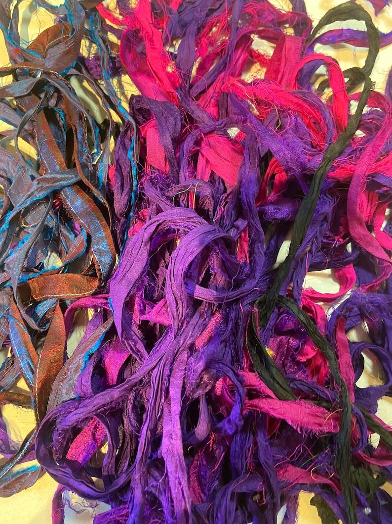 Scrap bag of sari silk-1 12 oz bag of recycled sari silk bag 28
