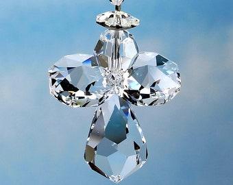 Swarovski Crystal Guardian Angel Suncatcher - Logo Etched Body, Car Charm, For Car Rearview Mirror / Home Ornament