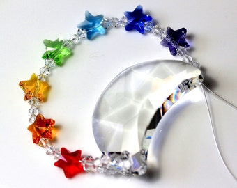 53b3854aaf6 mw Swarovski® crystal, The Original Big 50mm Retired Rare 6722 MOON +  CHAKRA STARS Sun Catcher, Car Charm, Home Ornament, Pearl Place N More