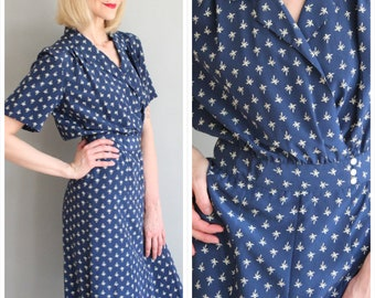 8b8dfd38df7d16 années 1980 ne robe des années 1940//Palm Tree robe de soie//robe de style  vintage des années 40