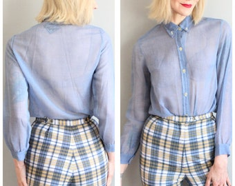 ad24decce5068e 1960s Blouse // Sheer Day Blue Shirt // vintage 60s blouse