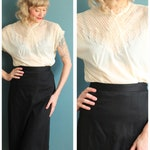 1950s Blouse // Pearl Waves Nylon Blouse // vintage 50s blouse
