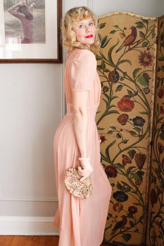1940s Gloves // Pink Cotton Knit Gloves // vintag… - image 4