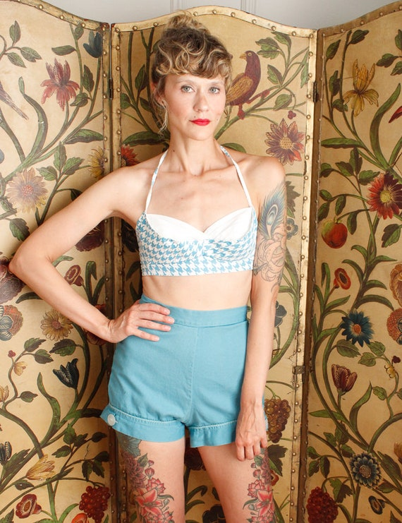 1950s Shorts // Turquoise Queen Twill Shorts // v… - image 5