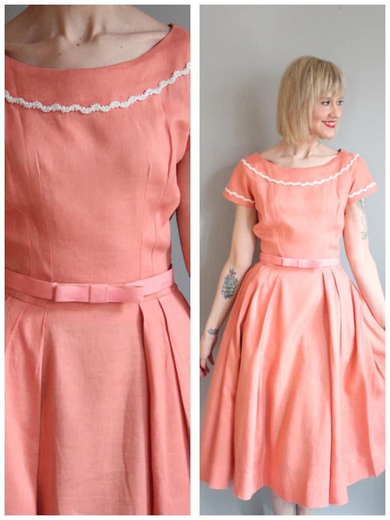 1950s Dress // Coral Pink Linen Dress // vintage 50s dress image 0