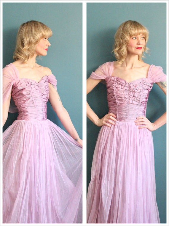 Late 1940s Gown // Debutante Tulle Gown // Vintage