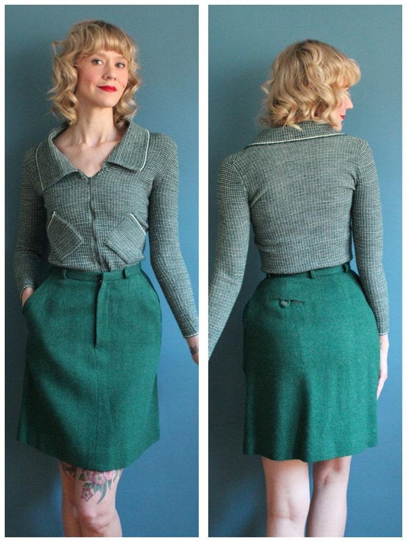 1960s Skirt // Emerald Green Tweed Skirt // vintage 60s wool image 0