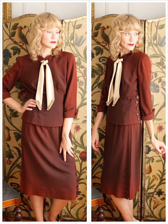 1940s Suit // Amber Rayon Blouse & Skirt Set // vi