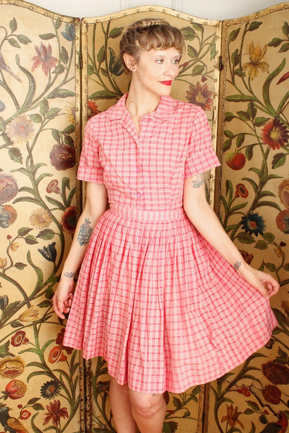 1950s Dress Set // Pink Plaid Cotton Shirt & Skir… - image 5