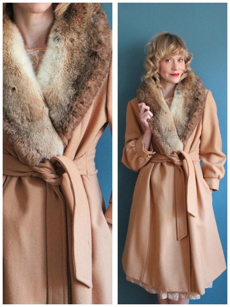 1970s Coat // Wool & Rabbit Collar Winter Coat // vintage 70s image 0