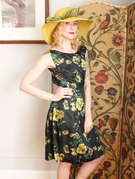 1960s Dress // Garden Party Silk Dress  // vintag… - image 2