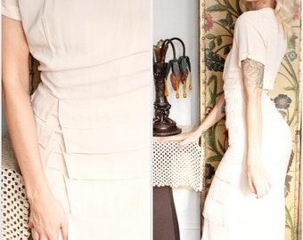 1940s Dress // Creamy Pale Pink Tiered Lipman & Wolfe Co Dress // vintage 40s dress