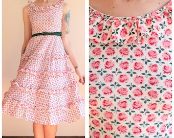 1950s Dress // Rose Rhumba Ruffle Dress // vintage 50s dress