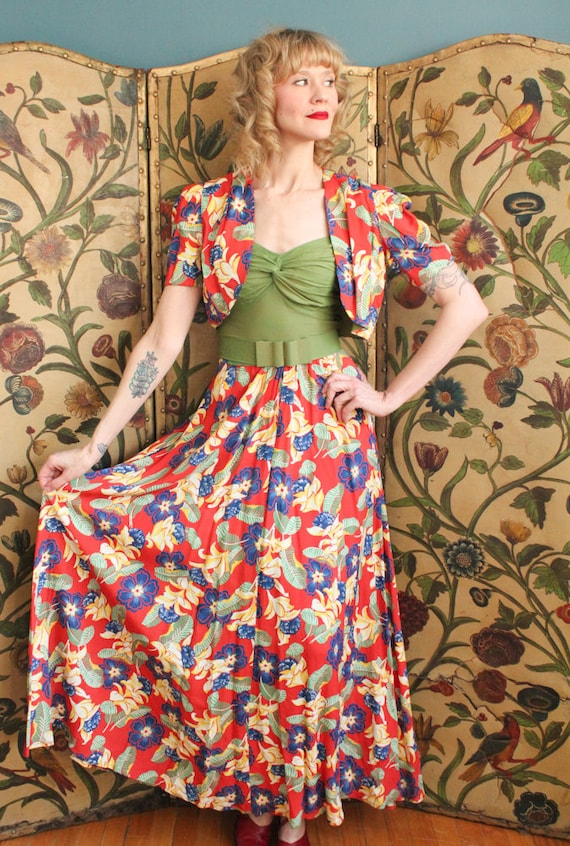 1940s Dress // Tropical Floral Cold Rayon Gown & … - image 2