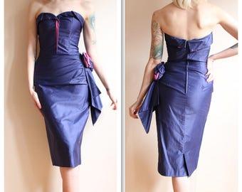 1950s Inspired Dress // Luxe Bombshell Strapless Dress // vintage Repro 50s dress + Shawl