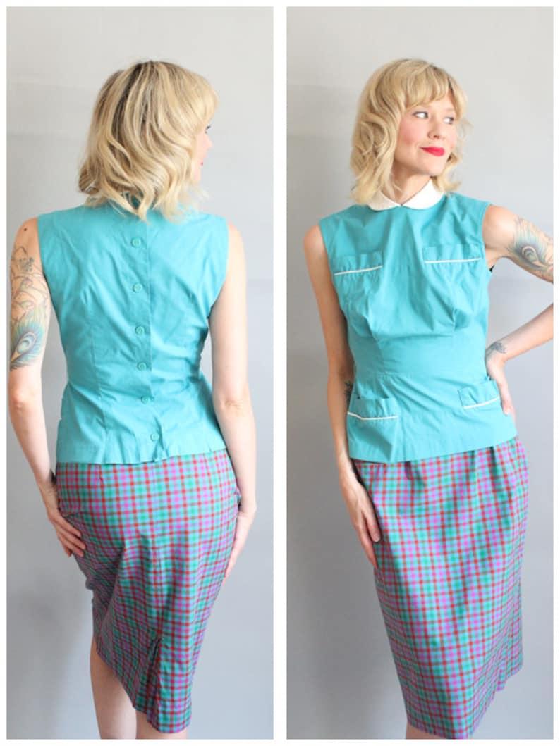 1950s Skirt // Plaid Cotton Pencil Skirt // vintage 50s skirt image 0