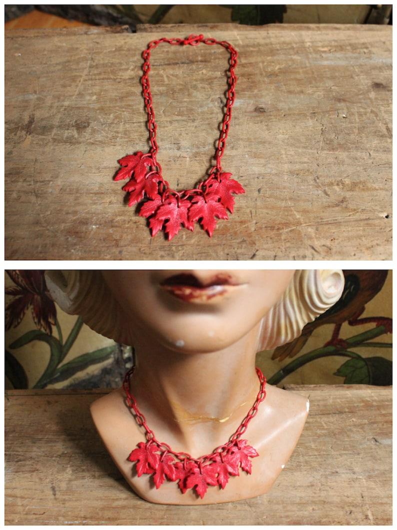 1940s Necklace // Red Leaf Plastic Charm Necklace // vintage image 0