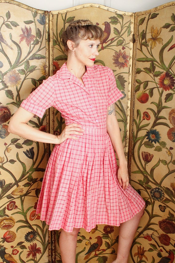 1950s Dress Set // Pink Plaid Cotton Shirt & Skir… - image 8