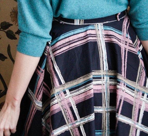 1950s Skirt // Large Plaid Swing Skirt // vintage… - image 9