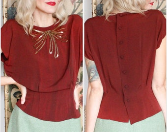 1940s Blouse // Sequin Bow Rayon Blouse // vintage 40s blouse