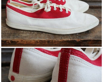 1950s Shoes // Classic Red Ball Jets Pointed Toe Tennis Shoes // vintage 50s tennis shoes