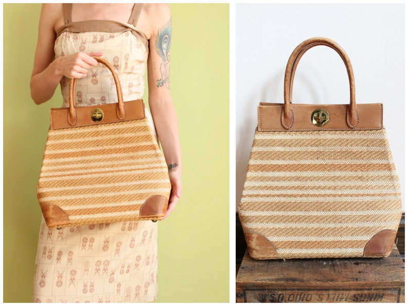 1950s Handbag // Oversized Straw & Leather Handbag // vintage image 0