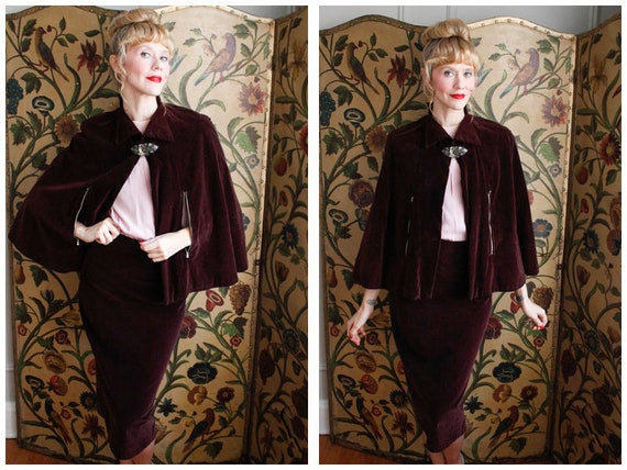 1930s Suit // Bordeaux Velvet Cape & Skirt Suit //