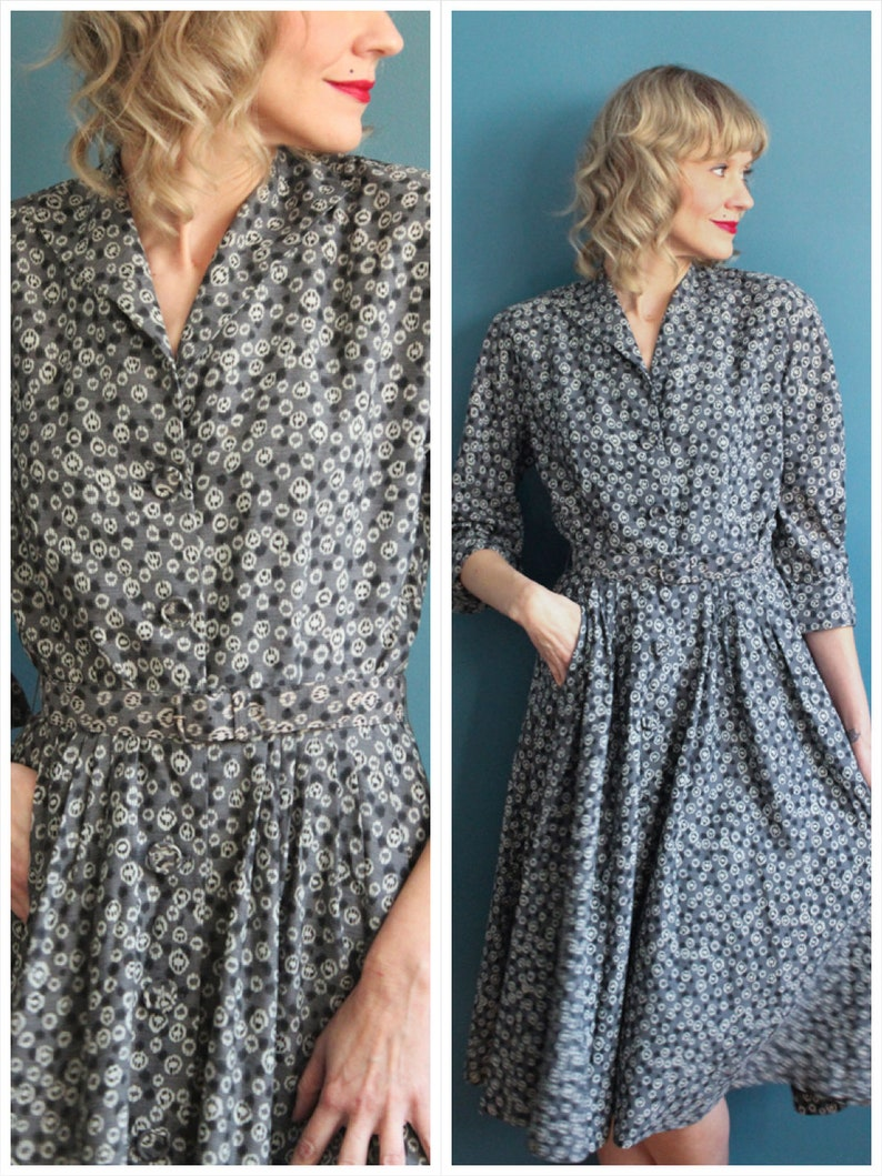 1950s Dress // Silky Starlight Dress // vintage 50s dress image 0